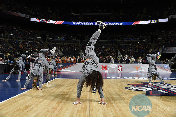 COLUMBUS, OH - DECEMBER 17:  The University of Texas takes on Stanford University during the Division I Women's Volleyball Championship held at Nationwide Arena on December 17, 2016 in Columbus, Ohio.  Stanford defeated Texas 3-1 to win the national title. (Photo by Jamie Schwaberow/NCAA Photos via Getty Images)