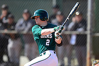 Chicago State University Cougars third baseman Mattingly Romanin #2 during a game against the St. Bonaventure Bonnies at South County Regional Park on March 3, 2013 in Punta Gorda, Florida.  (Mike Janes/Four Seam Images)