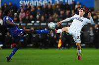 Clayton Donaldson of Bolton Wanderers battles with George Byers of Swansea City during the Sky Bet Championship match between Swansea City and Bolton Wanderers at the Liberty Stadium in Swansea, Wales, UK.  Saturday 02 March, 2019