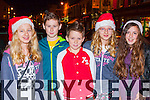 Julia Klorek, kaleb Lynch, Josh Feyn, Kasia Klorek and Laura Lovasekova getting into the xmas spirit at the Kenmare Christmas celebrations on Saturday night