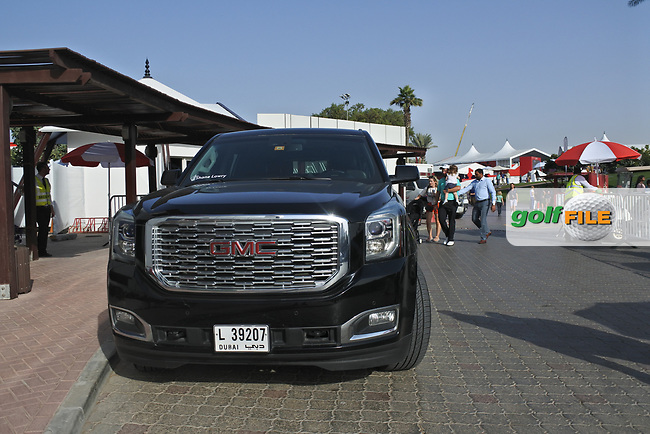 Shane Lowry (IRL) vehicle for the week during Round 3 of the Omega Dubai Desert Classic, Emirates Golf Club, Dubai,  United Arab Emirates. 26/01/2019<br /> Picture: Golffile | Thos Caffrey<br /> <br /> <br /> All photo usage must carry mandatory copyright credit (&copy; Golffile | Thos Caffrey)
