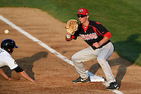 Batavia Muckdogs first baseman Eric Fisher (33) waits for a throw during a game against the Tri-City ValleyCats on August 2, 2014 at Joseph L. Bruno Stadium in Troy, New York.  Tri-City defeated Batavia 8-4.  (Mike Janes/Four Seam Images)