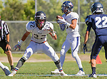 Palos Verdes, CA 09/24/16 - Sam Wilson (Rolling Hills #22) and Ethan Gretzinger (Rolling Hills #5) in action during the non-conference CIF 8-Man Football  game between Rolling Hills Prep and Chadwick at Chadwick.
