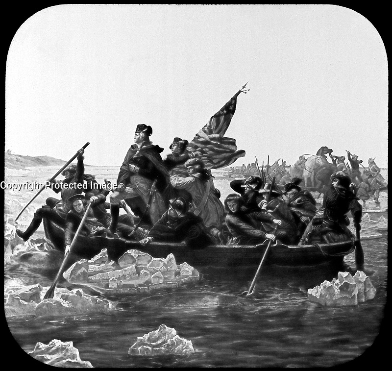 Washington Crossing the Delaware.  December 1776. Copy from painting by Emanuel Leutze, 1851. (Commission of Fine Arts)<br />