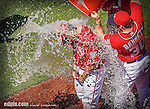 26 April 2014: Washington Nationals pitcher Tanner Roark is drenched by teammates after a win against the San Diego Padres at Nationals Park in Washington, DC. Roark pitched his first complete MLB game, a 3-hit shutout, as the Nationals defeated the Padres 4-0 to take the third game of their 4-game series. Mandatory Credit: Ed Wolfstein Photo *** RAW (NEF) Image File ***