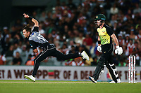 Trent Boult of New Zealand bowls as D'Arcy Short of Australia looks on. New Zealand Black Caps v Australia, Final of Trans-Tasman Twenty20 Tri-Series cricket. Eden Park, Auckland, New Zealand. Wednesday 21 February 2018. © Copyright Photo: Anthony Au-Yeung / www.photosport.nz