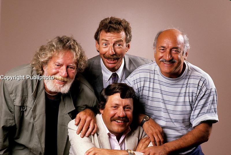 EXCLUSIVE PHOTO - Le Festival de l'humour with  Roger Joubert, Pierre Labelle, Michel Forget et Louis-Paul Allard at CKAC 73 Am.<br /> <br /> <br />  circa 1987.