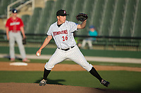 Kannapolis Intimidators relief pitcher Lane Hobbs (26) in action against the Lakewood BlueClaws at Kannapolis Intimidators Stadium on April 9, 2017 in Kannapolis, North Carolina.  The BlueClaws defeated the Intimidators 7-1.  (Brian Westerholt/Four Seam Images)
