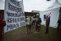 some fans manage to grab local hero Sven Nys (BEL/Crelan-AAdrinks) to pose with them by their home-made goodbye banner to Sven<br /> <br /> GP Sven Nys 2016