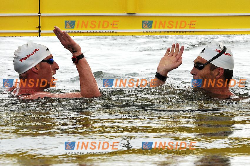 Thomas LURZ Germany Silver Medal (L), Spyros GIANNOTIS Greece Gold Medal (R).Men's 10 Km Open Water Swimming.Shanghai 20/7/2011 .14th FINA World Championships.Foto Andrea Staccioli Insidefoto