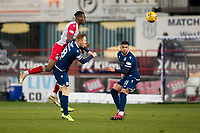 30th November 2019; Dens Park, Dundee, Scotland; Scottish Championship Football, Dundee Football Club versus Queen of the South; Abdul Osman of Queen of the South beats Danny Johnson of Dundee in the air - Editorial Use