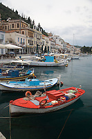 The seaport of Githio, Greece forms a colorful pallete of brightly colored fishing boats.