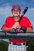 Mark Contreras (5) of the Elizabethton Twins poses for a photo prior to the game against the Danville Braves at American Legion Post 325 Field on July 1, 2017 in Danville, Virginia.  The Twins defeated the Braves 7-4.  (Brian Westerholt/Four Seam Images)