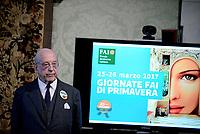 Roma,14 Marzo 2017<br /> Andrea Carandini Presidente FAI.<br /> Presentazione della 25ma edizione delle 'Giornate Fai di Primavera' a Palazzo Chigi