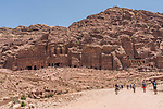 The Royal Tombs in the ruins of the Nabataean city of Petra in the Hashemite Kingdom of Jordan.  Petra Archeological Park is a Jordanian National Park and a UNESCO World Heritage Site.