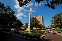 The Chipley monument is at the center of Plaza Ferdinand VII, where in 1821, Andrew Jackson received Florida from Spain.<br /> <br /> COLIN HACKLEY PHOTO
