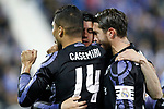 Real Madrid's Carlos Henrique Casemiro, Alvaro Morata and Sergio Ramos celebrate goal during La Liga match. April 5,2017. (ALTERPHOTOS/Acero)