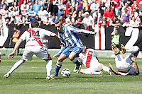Rayo Vallecano's Anaitz Arbilla (l), Roberto Trashorras (c) and Alejandro Galvez (r) and Real Sociedad's Antoine Griezman during La Liga match.April 14,2013. (ALTERPHOTOS/Acero)