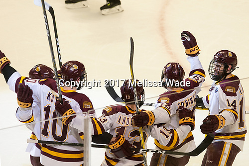 Neal Pionk (UMD - 4), Brenden Kotyk (UMD - 10), Joey Anderson (UMD - 13), Dominic Toninato (UMD - 19), Alex Iafallo (UMD - 14) - The University of Minnesota Duluth Bulldogs defeated the Harvard University Crimson 2-1 in their Frozen Four semi-final on April 6, 2017, at the United Center in Chicago, Illinois.