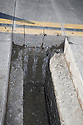 Trench cut as part of a recycled water pipeline. The cities of Palo Alto and Mountain View are jointly constructing a reclaimed water pipeline to carry recycled water from the Palo Alto Regional Water Quality Control Plant to customers along East Bayshore Parkway and Mountain View's North Bayshore area.