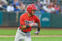 L.J. Kalawaia (5) of the Orem Owlz hustles down the first base line against the Ogden Raptors during the Pioneer League game at Lindquist Field on September 9, 2016 in Ogden, Utah. This was Game 1 of the Southern Division playoff. Orem defeated Ogden 6-5. (Stephen Smith/Four Seam Images)
