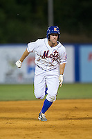 Kevin Kaczmarski (36) of the Kingsport Mets hustles towards third base against the Elizabethton Twins at Hunter Wright Stadium on July 9, 2015 in Kingsport, Tennessee.  The Twins defeated the Mets 9-7 in 11 innings. (Brian Westerholt/Four Seam Images)