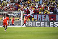 Action photo during the match Colombia vs Chile, corresponding to the semifinals of the America Cup Centenary 2016, at Soldier Field Stadium.<br /> <br /> Foto de accion durante el partido Colombia vs Chile correspondiente a la Semifinales de la Copa America Centenario 2016, en el Estadio Soldier Field, en la foto: Gol de Jose Pedro Fuenzalida de Chile<br /> <br /> <br /> 22/06/2016/MEXSPORT/Jorge Martinez