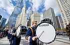 Oct. 6, 2012; Notre Dame Marching Band traditional drummer's circle performance at Pioneer Court in Chicago before the Shamrock Series game. Photo by Barbara Johnston/University of Notre Dame..