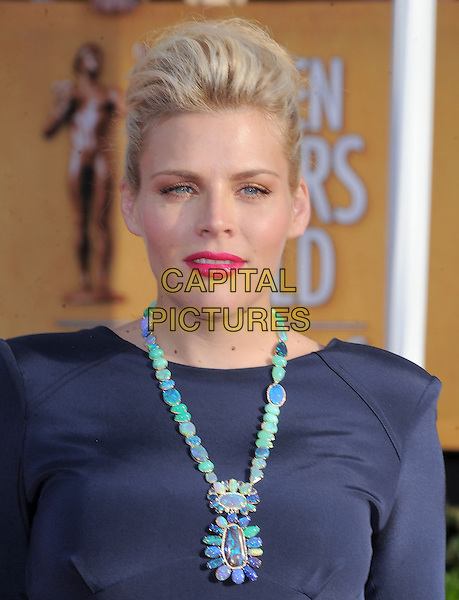 Busy Phillips.Arrivals at the 19th Annual Screen Actors Guild Awards at the Shrine Auditorium in Los Angeles, California, USA..27th January 2013.SAG SAGs headshot portrait black blue navy turquoise beads beaded pink lipstick  .CAP/DVS.©DVS/Capital Pictures.