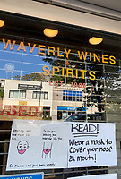 NEW YORK, NY - MAY 21: Waverly Wines and Spirits tells customers they should wear their masks like they wear their underwear during the coronavirus pandemic in New York City on May 21, 2020. <br /> CAP/MPI/RMP<br /> ©RMP/MPI/Capital Pictures