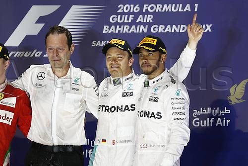 03.04.2016. Sakhir, Bahrain. F1  Grand Prix of Bahrain, Aldo Costa (ITA, Mercedes AMG Petronas Formula One Team), 6 Nico Rosberg (GER, Mercedes AMG Petronas Formula One Team), 44 Lewis Hamilton (GBR, Mercedes AMG Petronas Formula One Team) on the podium