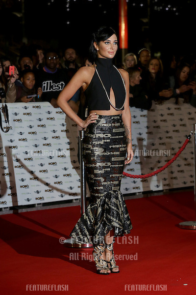 Tulisa Contostavlos arriving for The MOBO Awards 2014 held at Wembley Arena, London. 22/10/2014 Picture by: James Smith / Featureflash
