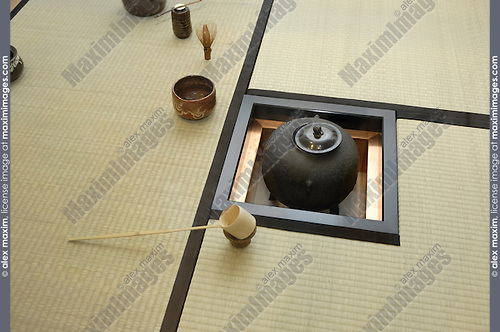 Chinese tea ceremony room interior with tatami mats made of woven reed