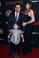 "HOLLYWOOD, LOS ANGELES, CA, USA - MARCH 20: Michael Pena, Roman Pena, Brie Shaffer at the Los Angeles Premiere Of Pantelion Films And Participant Media's ""Cesar Chavez"" held at TCL Chinese Theatre on March 20, 2014 in Hollywood, Los Angeles, California, United States. (Photo by David Acosta/Celebrity Monitor)"