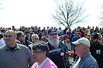 Supporters of Republican presidential frontrunner Donald Trump wait in line to enter before a town hall at the Holiday Inn Express in Janesville, Wisconsin on March 29, 2016.