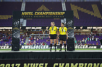 Orlando, FL - Saturday October 14, 2017: The Portland Thorns defeated the North Carolina Courage 1-0, during the NWSL Championship match at Orlando City Stadium.
