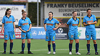 20191005  -  Diksmuide , BELGIUM : FWDM's Angelique Veracx , FWDM's Inge Vandermarcke ,  FWDM's Hanne Borteel ,  FWDM's Delphine Lins and FWDM's Sarah Verschaeve pictured during a footballgame between the womensoccer teams from Famkes Westhoek Diksmuide Merkem and KV Mechelen Ladies A , on the 5th matchday in the first division , 1e nationale , in Diksmuide - Belgium - saturday 5th october 2019 . PHOTO DAVID CATRY | Sportpix.be