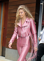 www.acepixs.com<br /> <br /> June 27 2017, New York City<br /> <br /> Model Gigi Hadid wears pink pants and jacket as she leaves her East Village apartment on June 27 2017 in New York City<br /> <br /> By Line: Philip Vaughan/ACE Pictures<br /> <br /> <br /> ACE Pictures Inc<br /> Tel: 6467670430<br /> Email: info@acepixs.com<br /> www.acepixs.com