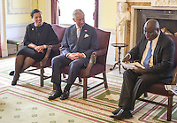12 July 2016 - Patricia Scotland, Baroness Scotland of Asthal, Commonwealth Secretary General, Prince Charles Prince of Wales, meet at Marlborough House in London. HRH The Prince of Wales was attending the Commonwealth Local Government Forum's Annual Reception. HRH The Prince of Wales met delegates and heard issues around sustainability and urbanisation being discussed at the CLGF's second Commonwealth Sustainable Cities Network conference. Photo Credit: ALPR/AdMedia