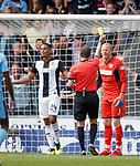 04.08.18 St Mirren v Dundee: Craig Samson booked by ref Alan Muir
