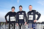 Phlip O'Connor, Peter Nolan and Neilus Daly at the Valentines 10 mile road race in Tralee on Saturday.