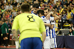 Pescara's players celebrate goal during UEFA Futsal Cup 2015/2016 Semifinal match. April 22,2016. (ALTERPHOTOS/Acero)