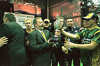 Ross Gregory, Australia Men's coach, with the Indoor Cricket World Cup trophy.<br /> 2002 Indoor Cricket World Cup, Wellington, New Zealand