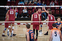 STANFORD, CA - March 3, 2018: Kevin Rakestraw, Jacob Thoenen, Leo Henken, Eric Beatty at Maples Pavilion. The Stanford Cardinal lost to Pepperdine, 3-0.