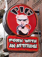 Sign for the Pig on Beal, Pork with an attitude, a BBQ restaurant on Beale Street in Memphis, Tennessee