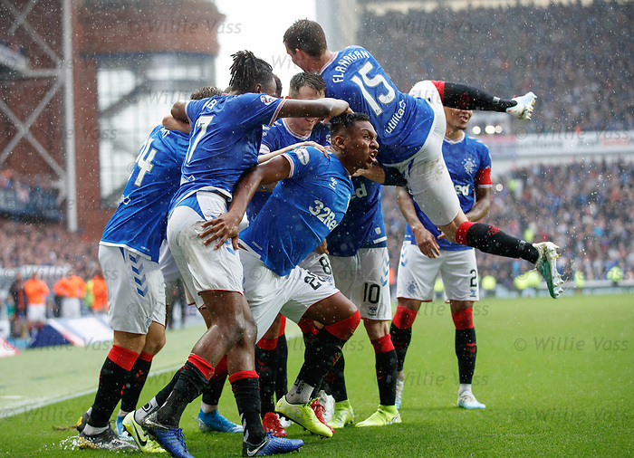 11.08.2019 Rangers v Hibs: Alfredo Morelos mobbed by team mates after coming on and scoring goal no 4