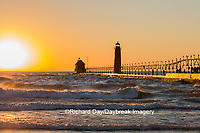 64795-01117 Grand Haven South Pier Lighthouse at sunset on Lake Michigan, Ottawa County, Grand Haven, MI