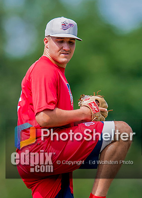 16 July 2017: Auburn Doubledays pitcher Nick Raquet works on pre-game drills prior to a game against the Vermont Lake Monsters at Centennial Field in Burlington, Vermont. The Monsters defeated the Doubledays 6-3 in NY Penn League action. Mandatory Credit: Ed Wolfstein Photo *** RAW (NEF) Image File Available ***