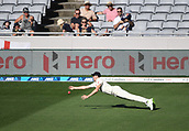 25th March 2018, Auckland, New Zealand;  Craig Overton dives in an attempt to catch  Southee. New Zealand versus England. 1st day-night test match. Eden Park, Auckland, New Zealand. Day 4