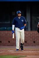 Mobile BayBears Jhoan Urena (14) at bat during a Southern League game against the Jacksonville Jumbo Shrimp on May 7, 2019 at Hank Aaron Stadium in Mobile, Alabama.  Mobile defeated Jacksonville 2-0.  (Mike Janes/Four Seam Images)